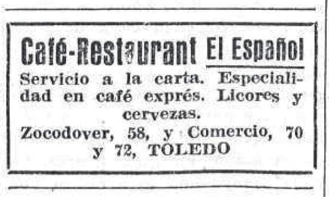 Publicidad diario El Sol en 1917. Café El Español