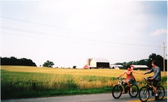 Bicycles! (Film) (ClickFlashPhotos / Nicki Varkevisser) Tags: summer film kids couple farm younglove teenagers bikes holdinghands filmcamera sundress feild ancaster scannedin camandi