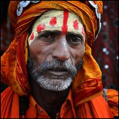 Pushkar India (jehouda) Tags: red portrait orange india man face yellow pushkar portraitsfromindianstreets