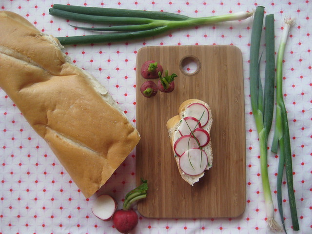 baguette with anchovy butter and radishes