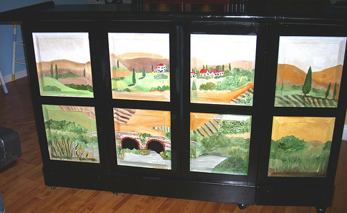 Hand Painted Tuscan Scene on portable bar