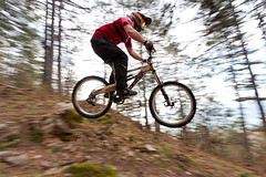 Bicycle downhill series (Nick-K (Nikos Koutoulas)) Tags: trees orange mountain bike bicycle forest greek nikon nikos downhill greece panning f4 vr nickk 1635mm     d700   koutoulas   dwcffpanning