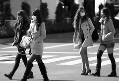 People in Shibuya - (Day 21 Holiday 2011) (Matthew Kenwrick) Tags: street morning girls cold sexy public fashion japan canon tokyo spring women sunday shibuya culture style babes leggings 70200mmf4 scramblecrossing