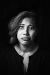 .outtake. (majestiele.co.uk) Tags: black white monochrome portrait face funny humourous outtake shoot lighting eyes makeup