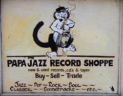 Papa Jazz Record Shoppe (Just Back) Tags: columbia sc signs cat papajazz poster notice new used records vinyl lp tapes cassette music store soundtracks jazz rock disco soul pop beatles cream stones sly family stone bluecheer johnnywinter leonrussell sylvester threedognight johnnycash country cher donnasummer barbrastreisand natkingcole boxedset artist oldies hendrix clapton elvis saxophone beret
