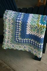 Blue granny baby blanket