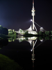 at about midnight (werner boehm *) Tags: reflection germany munich münchen bayern bavaria olympicpark tvtower lensers