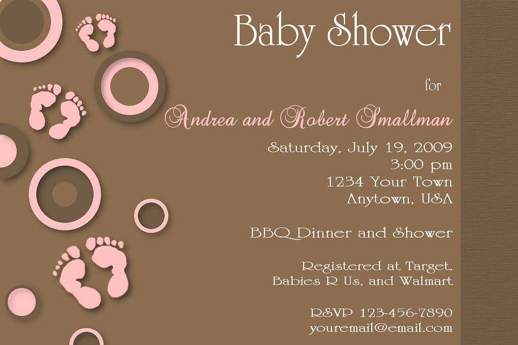 #C17 pink brown baby shower feet footprint