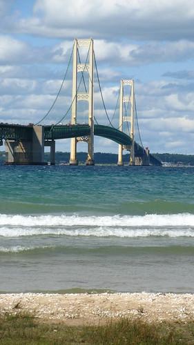 Mackinac Bridge over Beach