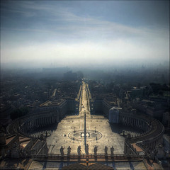 From the Dome of St. Peter's Basilica (MarcelGermain) Tags: morning travel light sky mist vatican rome roma fog clouds square geotagged twilight bravo europe european shadows basilica vaticano cupola dome obelisk piazza michelangelo hdr vatic theperfectphotographer