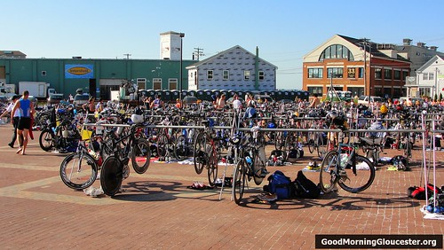 Bikes Lined Up At The Gloucester Triathlon