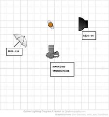 setup diagram (luiszarco) Tags: lighting girl umbrella model nikon chica modelo mari diagram setup 70300mm tamron paraguas esquema flashes d300 iluminación sb24 sb28 strobist luiszarco