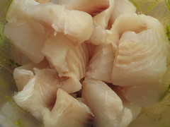 Chopped up fish fillets
