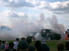 Chevy Truck Burnout (blondygirl) Tags: auto car truck smoke pickup chevy burnout chevytruck sprucegrove burnoutcompetition cruisersofthepast grovecruise chevytruckburnout