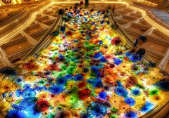 A Sea of Glass - The Chihuly Exhibit at the Bellagio in Vegas (Stuck in Customs) Tags: world travel las vegas flowers sea sculpture usa como color chihuly glass colors architecture america photography hotel high dangerous nikon colorful artist dynamic stuck dale lasvegas vibrant interior united nevada north perspective surreal august indoor exhibit casino ceiling exotic photograph di bellagio form states fiori wynn range 2009 brilliant sculptures hdr trey sculptor palette customs ratcliff d2xs stuckincustoms d3x