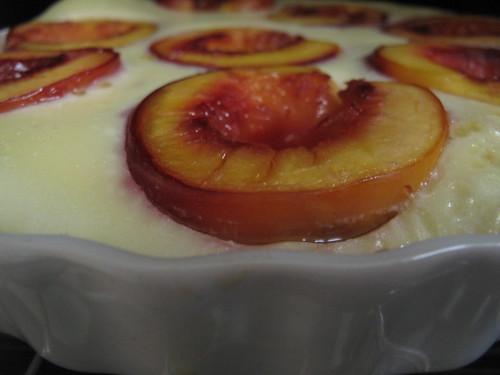 Peach clafoutis - almost ready