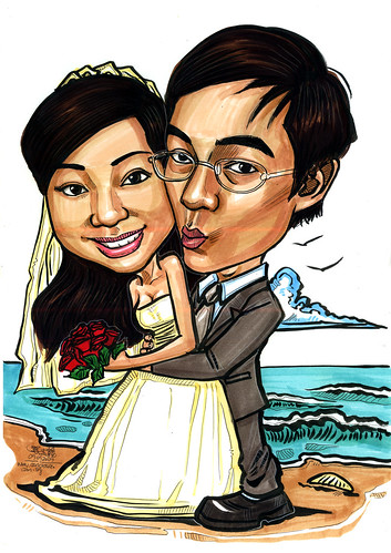 wedding couple caricatures at beach A4