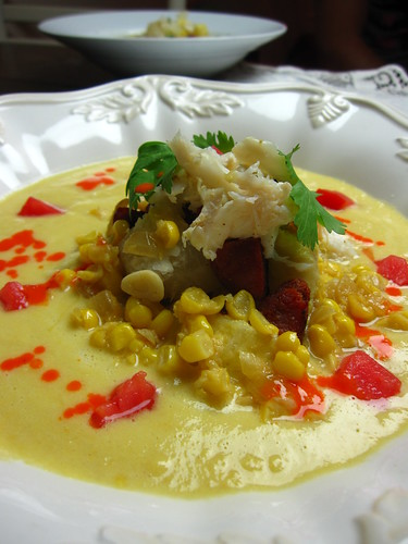 creamy corn and crab soup with chile emulsion