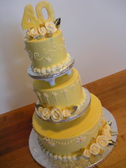 40th Anniversary Cake (Josef's Vienna Bakery) Tags: vienna wedding yellow cake dessert marisa sweet anniversary weddingcake flames nevada tahoe tasty bakery reno bridal sparks tier hess josefs