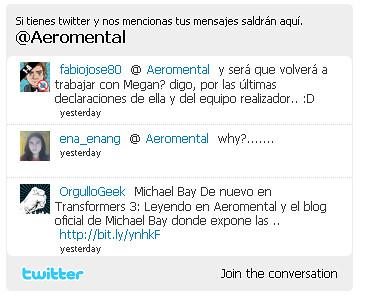 Aeromental twitter widget