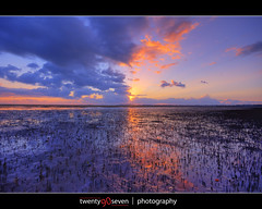 Fire and ice (Alex Power (twenty90seven)) Tags: blue sky orange cloud reflection landscape purple mud horizon manly australia brisbane flats mangrove queensland tidal twenty90seven