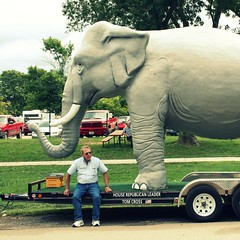 The Right. (Steve Moudry) Tags: old house elephant man statue illinois election state statefair president il huge trunk government oversized republican democrat obama tusk tomcross