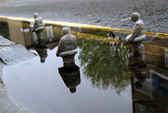 Climate change expedition (Isaac Cordal) Tags: urban sculpture streetart london cement hackney instalation eclipses isaaccordal