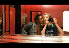 Damn Hell Poole's Diner Bathroom (10/2009) (abbyladybug) Tags: camera red selfportrait reflection bathroom mirror abby raleigh dottie poolesdiner pooles dhr damnhellbathroom
