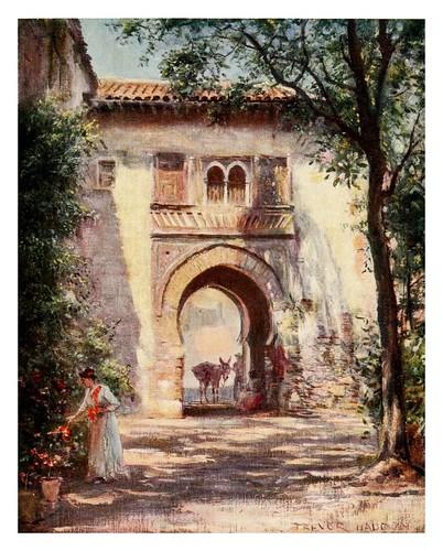 032-Granada-Puerta del vino en la Alhambra-Southern Spain 1908- Trevor Haddon