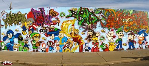 Cacho graffiti con personajes de videojuegos