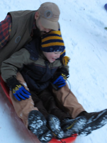 Uh-oh the boys are on the sled!