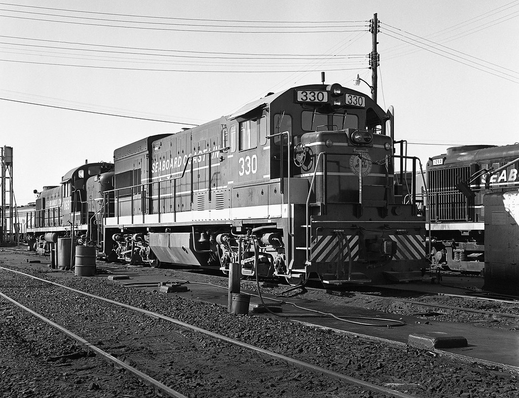 Locomotives In the repair and maintenance yard in 1974