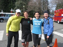 Race Director Krissy Moehl with 2009 Chuckanut 50k Female finishers