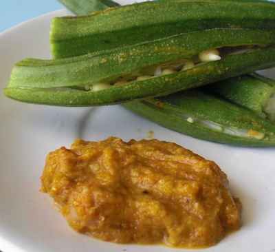 Peanut butter stuffed Okra