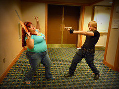 Leon Shoots Zombie (stormymoorecosplay) Tags: park chris john hearts ada costume cosplay zombie alice south bleach evil kingdom stormy s moore leon wong wonderland naruto vivi kennedy chapman roxas pence resident redfield 2011 ouran vipperman stormymoorecosplay roundcon