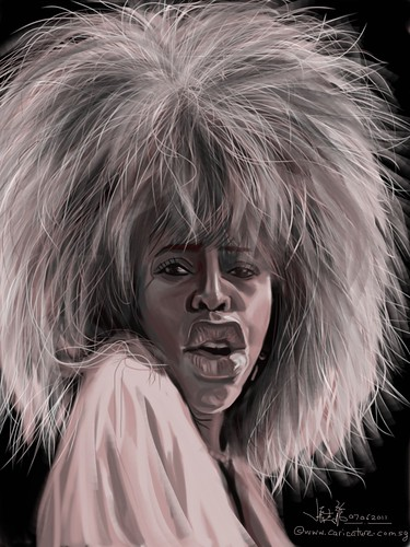 digital caricature of Tina Turner on iPad Sketchbook Pro