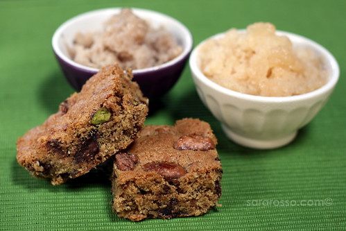 Praline Almond, Pistachio and Chocolate Chip Blondies Recipe – Ms ...