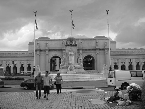 Homeless in front of the Union Station...