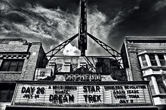 the orpheum (9North) Tags: startrek white black wisconsin clouds marquee theater text madison movietheatre statest orpheum