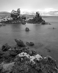 Tufa in Snow, Mono Lake, CA.  October 10, 2008 (Robert Pearce Photography) Tags: california blackandwhite bw snow storm clouds landscape sierra monolake tufa easternsierra nikond200 robertpearce sierrasolstice robertpearce