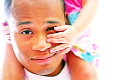 Any man can be a Father but it takes someone special to be a dad. (Kelly West Mars) Tags: family pink blue summer portrait baby white man cute love 50mm hands toddler colorful child f14 father daughter naturallight ethnic piggyback multiracial blasian nikond80