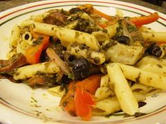 Cilantro Pesto Mostaccioli with Veggies (Vegan Feast Catering) Tags: mushrooms olive pasta garlic chives cilantro spinach redonion redbellpeppers artichokehearts riceparmesan