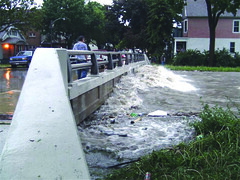Flood conditions on the KK River at Ninth Place and Cleveland Avenue in June 2008. ~photo courtesy Dave Fowler, MMSD