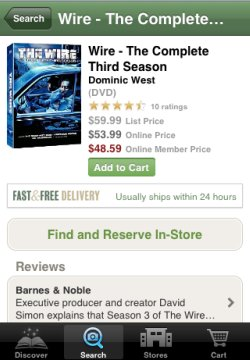 Barnes & Noble iPhone app product page