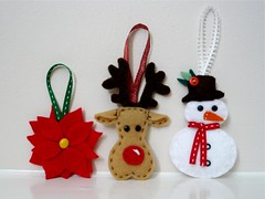 Festive Line-Up (LizzieViolet) Tags: christmas reindeer snowman handmade sewing poinsettia decoration craft felt ornament christmasdecorations stitching handcrafted rudolph christmasornament crafting christmastreedecorations feltcraft