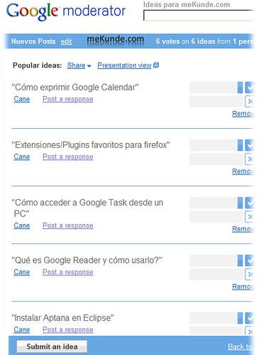Google moderator, mekunde