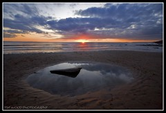 ROCK POOL SUNSET AT SOUTHERNDOWN, WALES (IMAGES OF WALES.... (TIMWOOD)) Tags: rock rockpool reflection puddle sand sunset sundown sun orange clouds sony alpha a700 southerndown bridgend ogmorebysea valeofglamorgan wales southwales