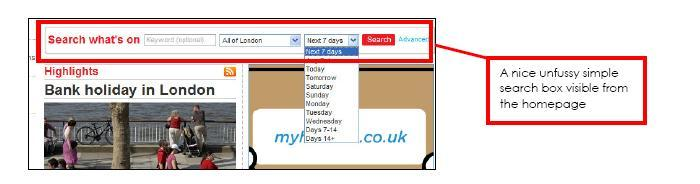 Screenshot of Time Out London's homepage with events search box highlighted