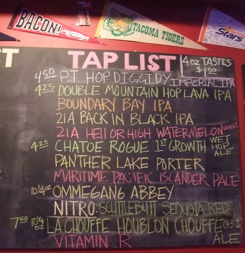 Tap list at the Red Hot