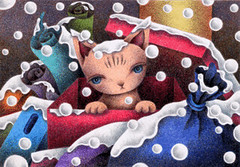 Snow Cat - Kitten thrown away (T-KONI) Tags: snow art illustration fairytale kitten scenery image picture fantasy coloredpencil fantasyart abandonedcat catpicture fairytaleart fairytalepicture fantasypicture coloredpencilpicture